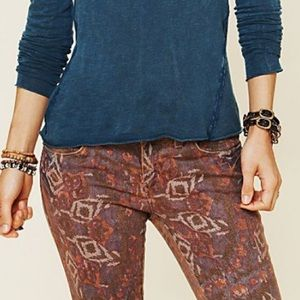 Free People boho Aztec jeans size 27